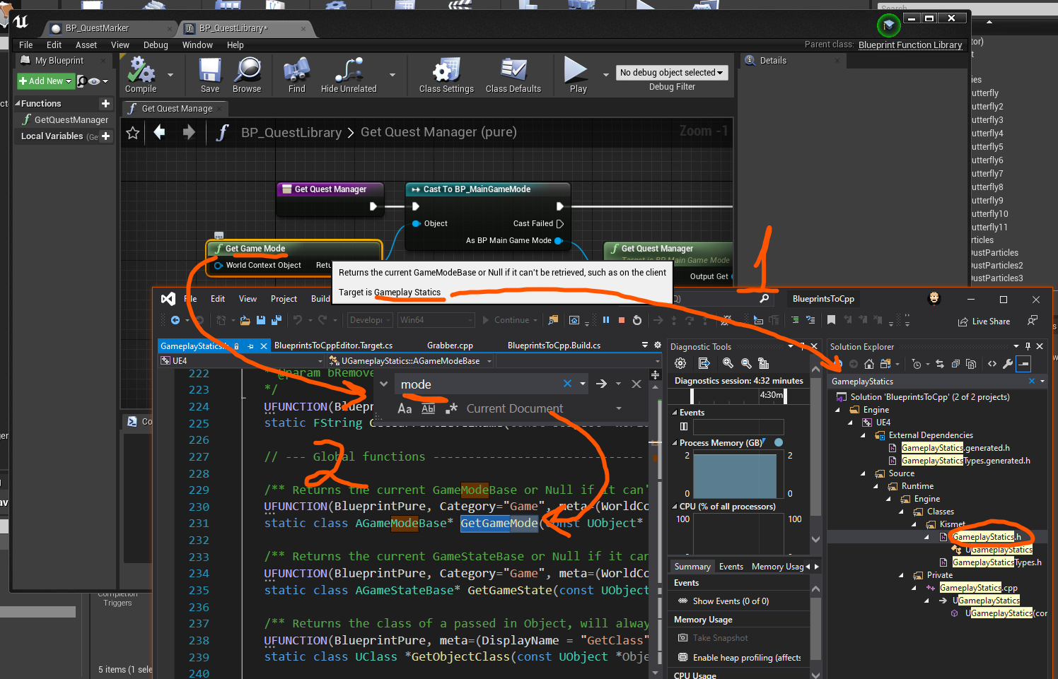 UE4 find Blueprint nodes on C++